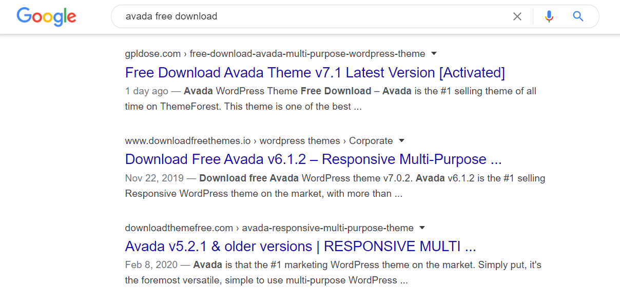 Avada nulled themes