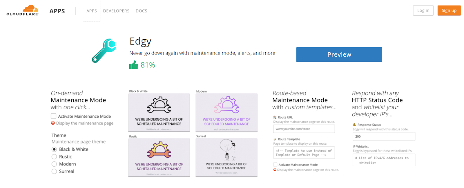 Cloudflare Edgy App For Maintenance Purpose