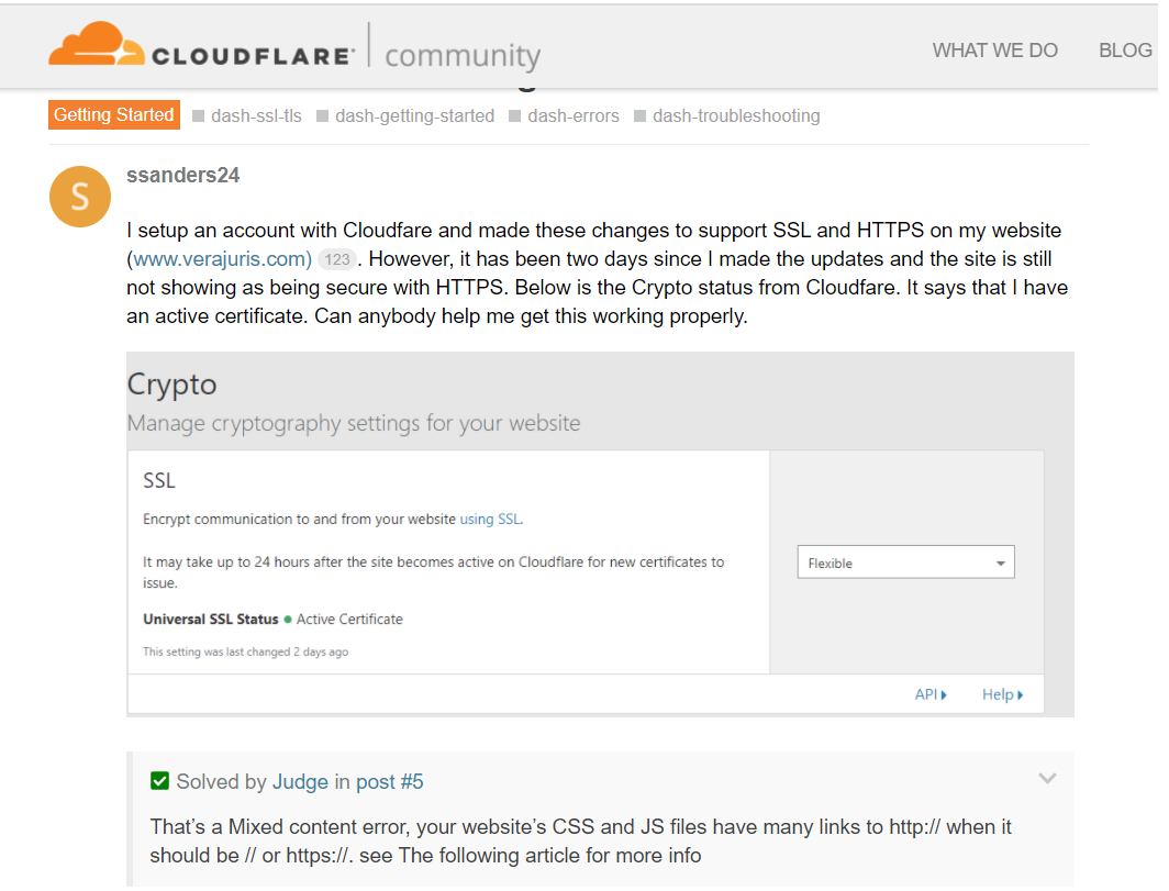 Cloudflare HTTP to HTTPS Issue and people talking about mixed content