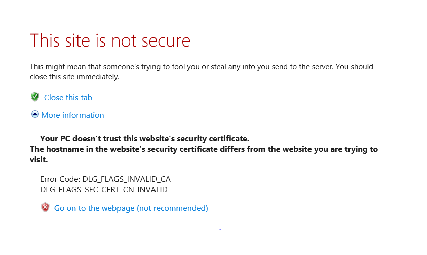 Dlg flags sec cert cn invalid error