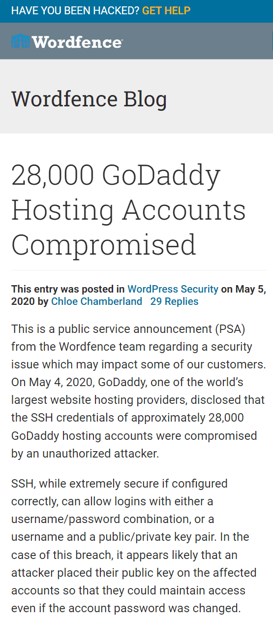 Hosting accounts hacked