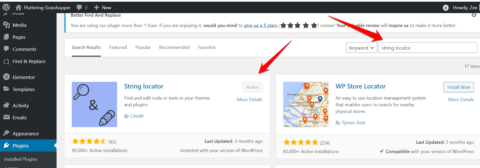 String Locator plugin in WordPress