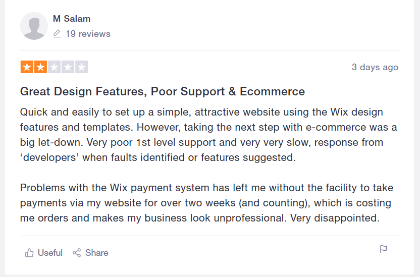 Wix Poor ECommerce Support