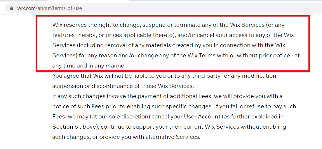 Wix Terms And Condition