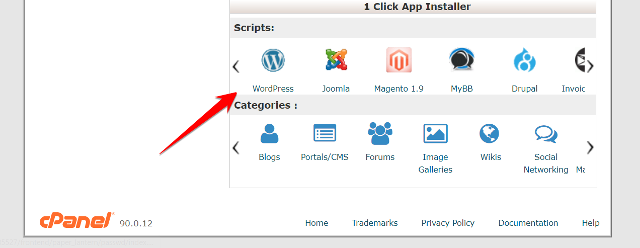 WordPress in Script in cPanel