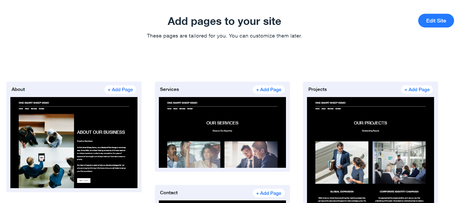 Add pages to Wix