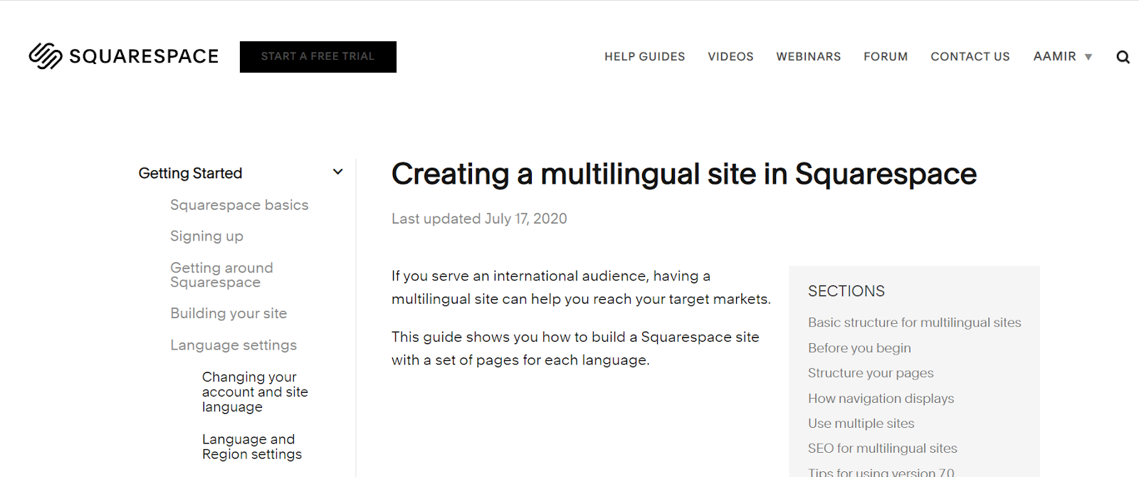 Creating a multilingual site in Squarespace