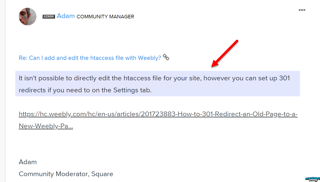 htaccess file not editable on Weebly