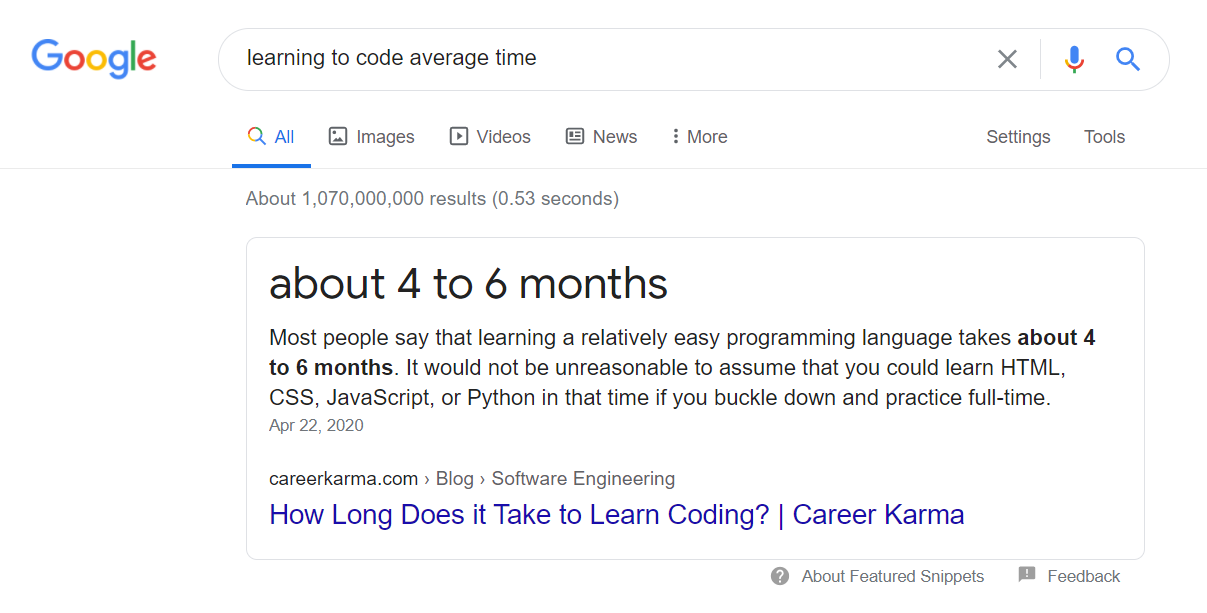 learning to code average time