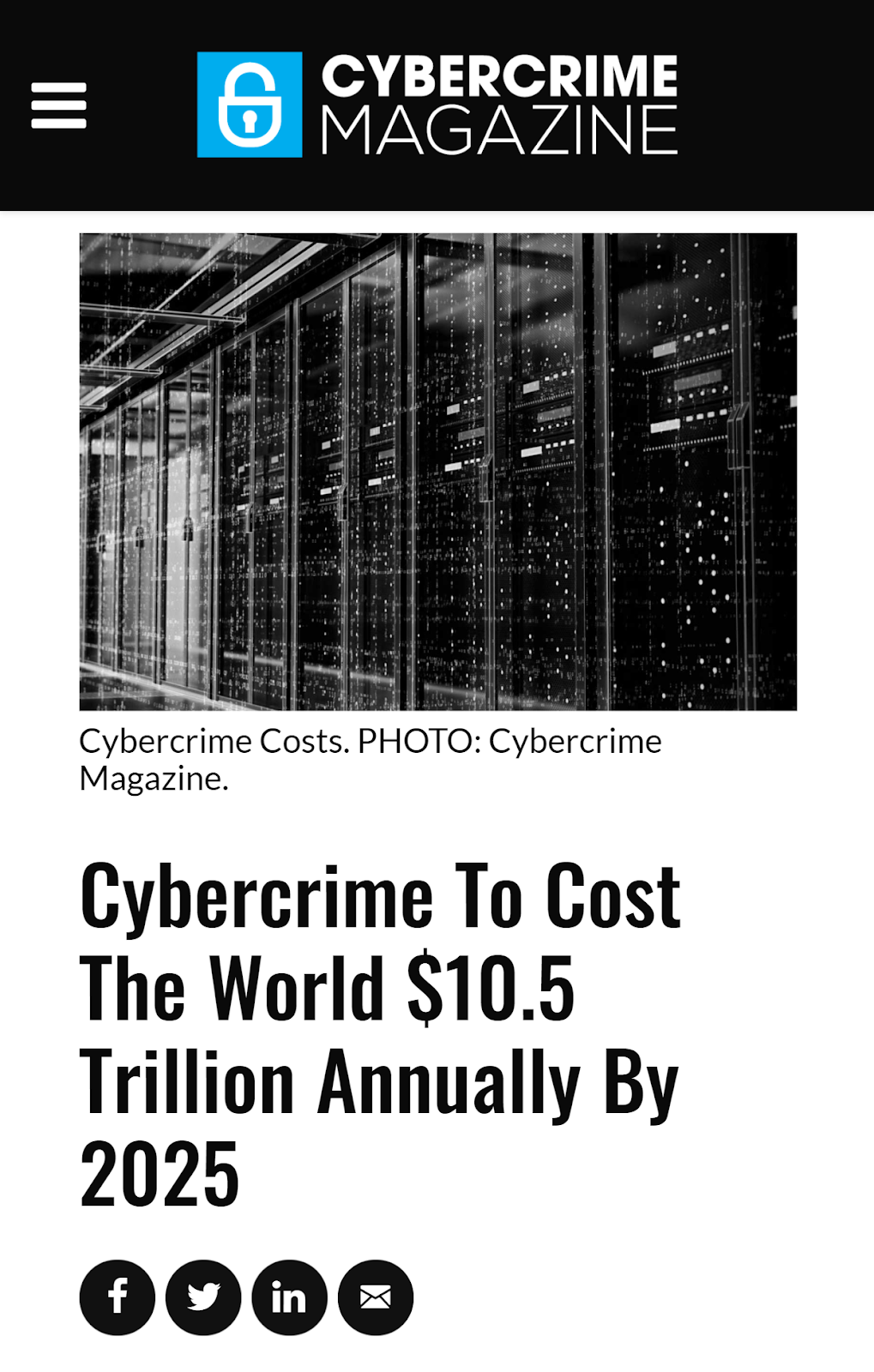 Cybersecurityventures.com Cybercrime Damages 6 Trillion By 2021 IPhone 6 7 8 Plus