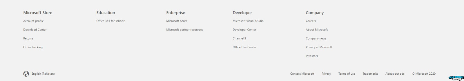 Microsoft Website Footer