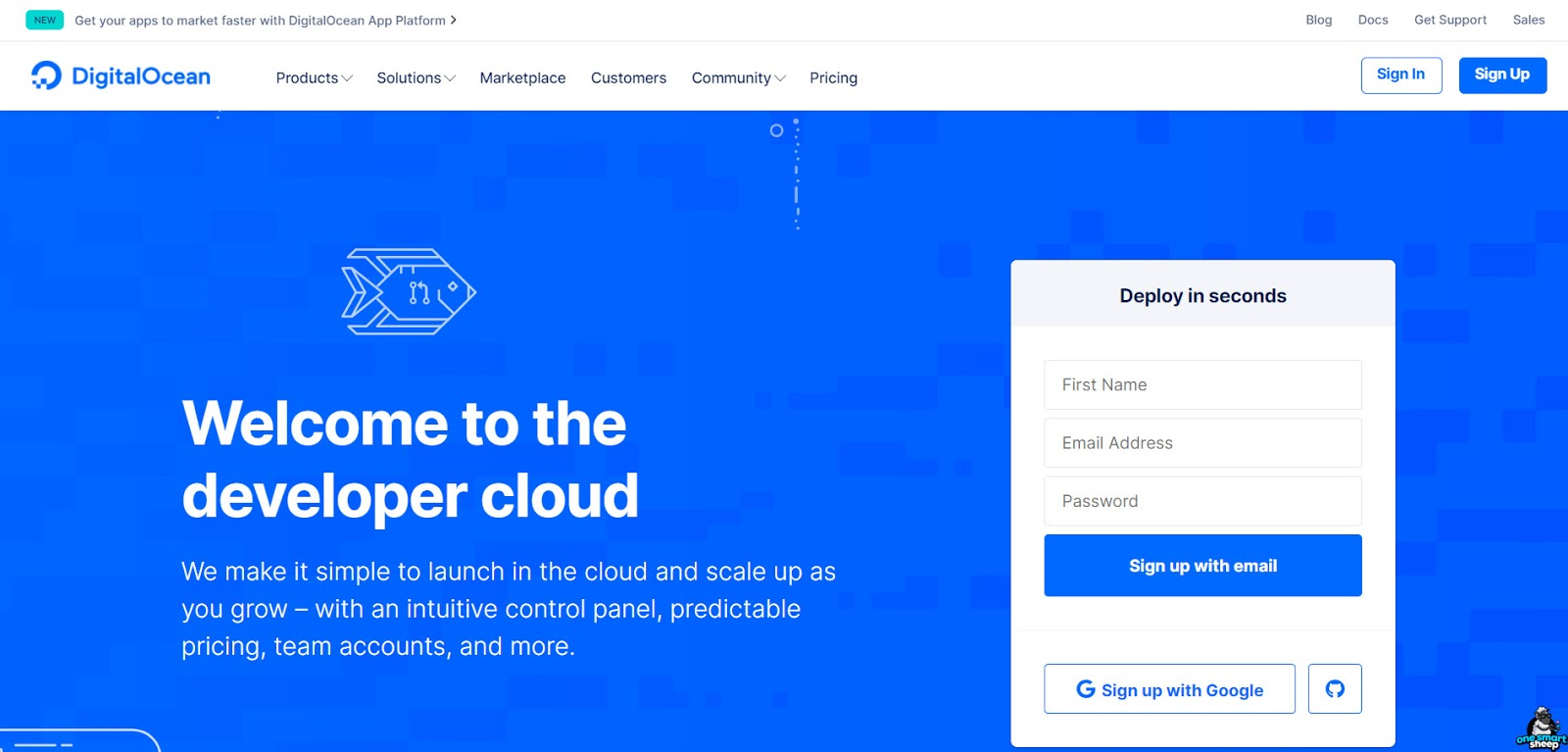 Digital Ocean Homepage